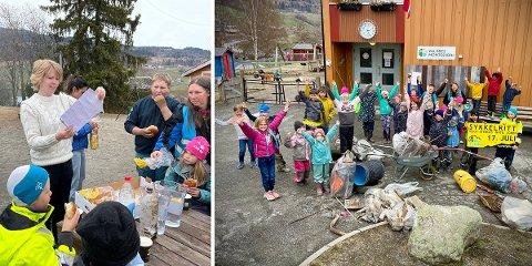 OVERRASKELSE: Blant søpla som Valdres Montessoriskule dro opp fra vannkanten rundt skolen, ble det funnet en flaskepost.