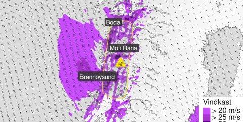 Yr har sendt ut gult farevarsel på grunn av sterk vind og uvær i Salten torsdag.