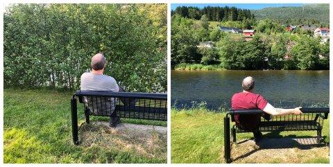 SKJULT SKATT: Roy Sunde har lagt ut bilde av utsikta både før og etter kommunen rydda elvekanten: – Mann (49,99999999999) vender tilbake til elveutsikta og blir lamslått! (Av kantslått), skriv han til det siste bildet.