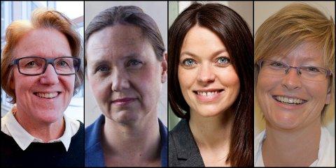 LEDERE: Alice Beathe Andersgaard, Hege Lundring, Astrid Bugge Mjærum og Ellen Henriette Pettersen er blant ledelsen i Sykehuset Innlandet som er oppført med inntekt over én million i 2017.