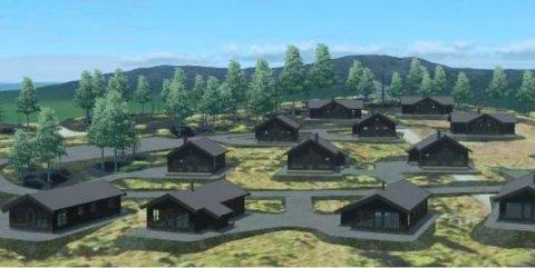 Illustrasjonen gir et inntrykk av bebyggelsen som er planlagt i Gålå Fjellandsby, som ligger et stykke forbi Peer Gynt-scenen på Gålå. Tinde ønsker å plassere hyttene slik at møneretningen peker utover. Det skaper debatt.
