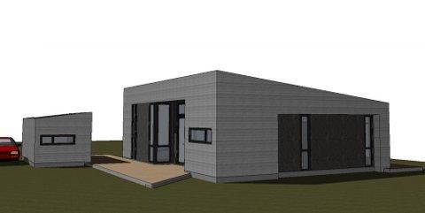 MODERNE: Slik ser arkitekten for seg at den nye hytta på Gumøy skal se ut.