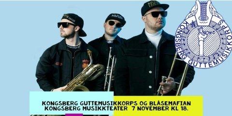 SAMARBEID: Kongsberg Guttemusikkorps og Blåsemafian blir å høre i musikkteatret 7. november.