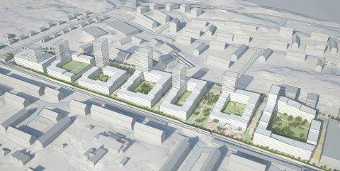 HØYE TÅRN: Tanken er at boligbebyggelsen skal omkranse gårdsrom som blir skjermet fra trafikken. Syv tårn skal skape en urban skyline. Skisse: MAD Arkitekter