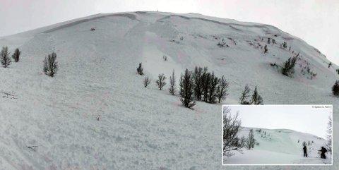 Her kom en stor gruppe skigåere fra det med skrekken etter at et stort skred gikk i Balsfjord. Foto: Karin, RegObs