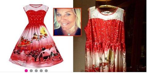 SER DU LIKHETEN? Det er vel mest stoffet i kjolen til høyre, som minner om kjolen på bildet fra nettbutikken, til venstre.