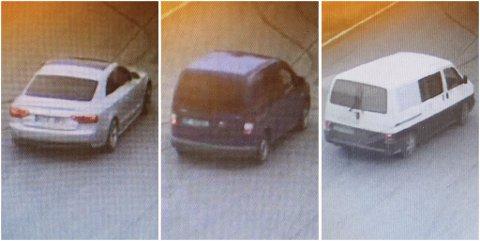 TO FUNNET: Bilen til høyre, en eldre Volkswagen Caravelle ble kapret av flere personer på Minnesund lørdag. Den og Audien i midten er funnet igjen, melder politiet, mens VW Caddyen til venstre fortsatt er etterlyst.