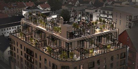 TAKHAGE: På de tre øverste nivåene planlegger utbygger takhager og drivhus, til glede for dem som leier i nybygget. (Illustrasjon: Spir Arkitekter)