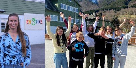 NYSGJERRIGPER: Marie Stensholt er rektor på Fresvik Enspire skule er godt nøgd med at elevane hevdar seg i kampen om tittelen Årets Nysgjerrigper.