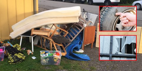 KLAR-FERDIG-RYDD: Det er tid for grovavfallsinnsamling. Gamle bildekk og vindusruter er blant tingene som IKKE blir tatt med.