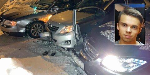 KRAFTIG SMELL: Isak Sæther klarte ikke å stoppe i den glatte bakken, og kjørte inn i Toyotaen som allerede hadde krasjet i en Audi.  Foto: Isak Sæther