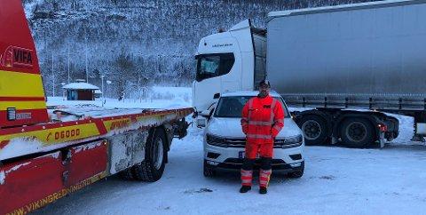 Hektisk start på året: Etter at Rognan bilberging la ned driften, har tidligere ansatt i selskapet Geir Inge Edvardsen overtatt oppdragene i Saltdal, men nå for VIFA bilberging. Det har ført til lange arbeidsdager og mange bergingsoppdrag.