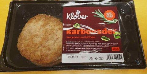 Kløverkjøtt AS trekker tilbake produktet Pannestekte karbonader. Årsaken er funn av listeria.