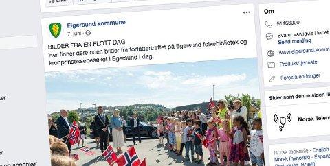 Fra Eigersund kommunes side på Facebook