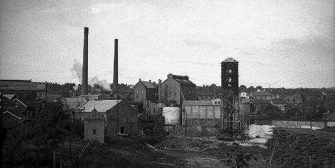 Vestfos Cellulosefabrik: I mellomkrigstida, sett fra Strandajordet. Lengst til venstre ligger papirfabrikken, deretter kraftstasjonen med en trafokiosk foran og de to store fabrikkpipene i bakgrunnen. Midt på bildet ligger syreanlegget og bakenfor den selve cellulosefabrikken, med kokeri og vaskeri. Helt til høyre ser vi litt av det enorme tømmerlageret på Strandajordet – i dag RVS Idrettspark. Kilde: Eiker Arkiv