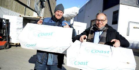 SATSAR: Dagleg leiar i Maaløy Seafood, Roger Skavøypoll (t.v.), og administrerande direktør i Coast Seafood, Sverre Søraa, ser fram til oppgraderinga av anlegget til Maaløy Seafood. Foto: Sindre Blålid Kvalheim