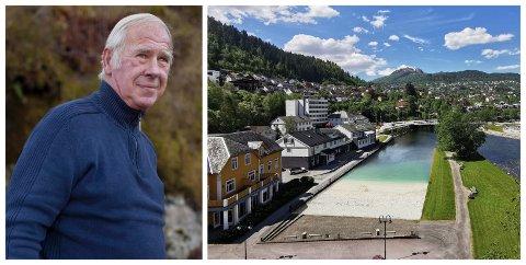NEGATIV: Jon Flom er negativ til forslaget om strand i sentrum. Han meiner det vil øydelegge for Jølstra som fiskeelv.