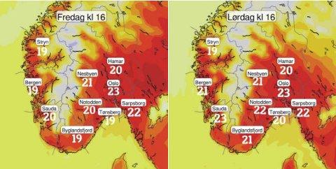 Slik ser meteorologene på twitter for seg været på østlandet fredag og lørdag. Søndag blir det værskifte.