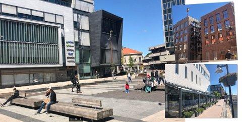 Eksempler på det psykolog Grønnerød kaller brutaliserende arkitektur i Fredrikstad sentrum.