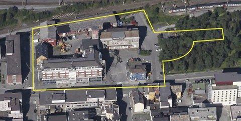 Stort område: Det er det området som er innenfor den gule markeringen som blir det området arkitektene skal få boltre seg på. I dag står det i overkant av 13.000 kvadratmeter bygg på tomta. Området er på rundt 13 dekar. Også deler av Bromsgård-parken kan arkitektene ta i bruk.Foto/illustrasjon: Narvikgården/Karl Inge Punsvik