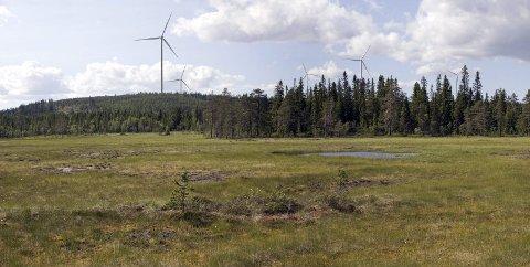 PLANENE VOKSER: NVE har gitt godkjenning for at vindkraftparken i Kjølberget på Våler Finnskog kan bli større og få en høyere kraftproduksjon. Her er vindmøllene visualisert med utsikt fra Kjølbergmyra.FOTOMONTASJE: SWECO