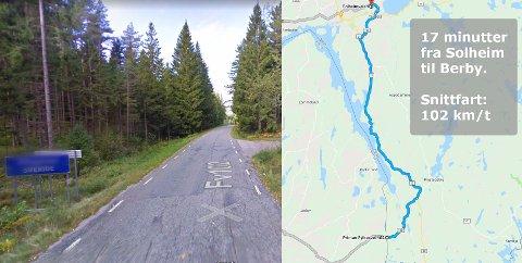 STAKK FRA TOLLEN: En Audi stasjonsvogn tilbakela strekningen fra Solheim til riksgrensa ved Berby på 17 minutter sommeren 2017. Det tilsvarer en snittfart på 102 km/t på den svingete veien. Politiet og tollvesenet mener det var en 25-åring tatt i forbindelse med politiaksjonen forrige uke, som kjørte bilen. Tingretten fant det også overveiende sannsynlig, men mente det ikke var bevis nok til å dømme han for forholdet.