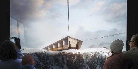 Fjellstasjonen: Slik har arkitekt Reiulf Ramstad sett føre seg fjellstasjonen på toppen av Rossnos. No vil eit lokalt investeringsselskap hjelpe til med å realisere planane. llustrasjon: Reiulf Ramstad Arkitekter