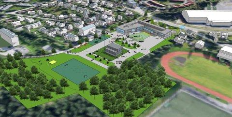 SKJERMES: Skolens friområde blir liggende skjermet fra Numedalsveien. Gymnastikkbygget (i midten) blir stående. Kongsberghallen og Numedalsveien skimtes øverst til høyre i bildet.