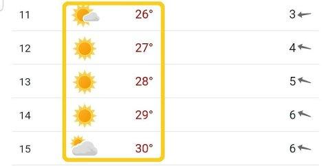 SOMMERVARME: Torsdag ventes det 30 grader og blå himmel i Oslo. Foto: (Skjermdump/Yr)
