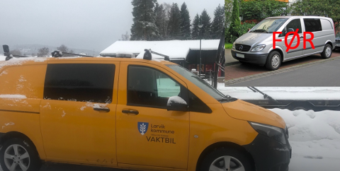 BLAKK ETTER LAKK? Larvik kommune har lakkert to biler i kommunal gulfarge. Det reagerer BedreLarvik kraftig på.
