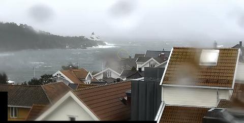 12:10: Bildet viser fjorden inn mot Langesund cirka klokka 12 søndag 9. februar.