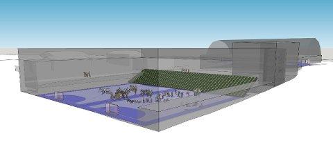 NY HALL: Slik ser skissen for en ny flerbrukshall på Jørpeland ut. Det har vært planlagt byggestart våren 2020.
