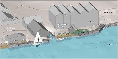 En skisse på hvordan gjestebrygga i sentrum vil se ut.
