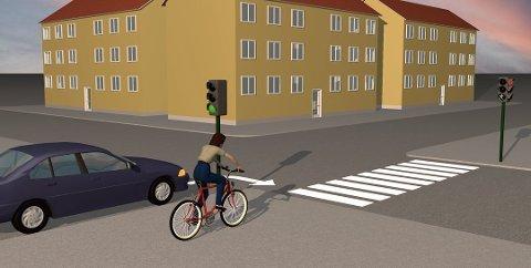 Sykler du over gangfelt, har du vikeplikt for kryssende trafikk uavhengig av om lyset er grønt eller rødt. Illustrasjon: Knut August Johansen