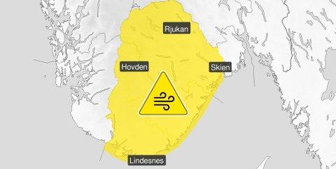 Meteorologisk institutt har sendt ut gult farevarsel for Sør-Norge.