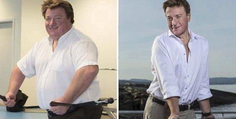 """I 2014 veide Espen Tyrihjell (t.v.) 172 kilo. Han bestemte seg for å ta grep og et år senere var han en """"ny mann"""", 80 kilo lettere."""