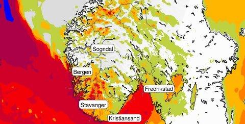 Torsdag kveld ventes storm på #estlandet og Østafjells med kraftige vindkast opp til 40 m/s.