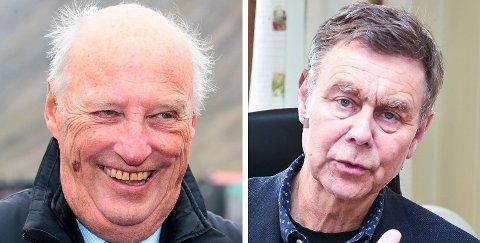 KOMMUNEKONGEN: Kong Harald samler på norske kommuner, og har som mål å besøke alle. Nå gjenstår 52 kommuner. Nedre Eiker med Bent Inge Bye i spissen er én av dem.