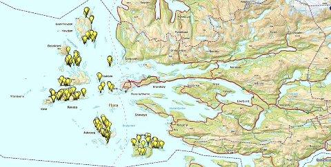 Kart som viser kor det skal byggast ut fiber i øyane i Flora i samarbeid med Enivest.