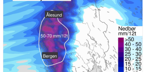 NEDBØR: Meteorologen melder om store mengder nedbør dei komande timane.