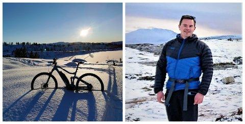 ELSYKKEL I SKILØYPA: Ken Marius Nedrebø (32) tok seg ein tur i Fauskeløypa på Langeland med elsykkels måndag. – Det var ein fantastisk tur!
