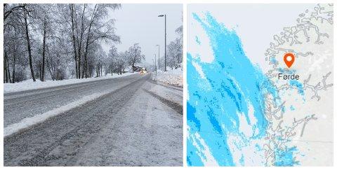 MILDARE: Natt til måndag kjem nedbøren inn over Vestlandet. Bildet til høgre viser situasjonen rundt klokka 20 søndag kveld. Bildet til venstre viser korleis vegane kan bli måndag morgon.