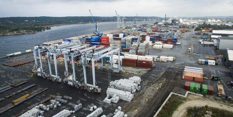 Nye kraner skal øke kapasiteten: De fire kranene i forgrunnen er kjøpt av Oslo havn. De skal nå gjøres klare for en mer effektiv håndtering av containere i løpet av 2017. Arkivfoto: Erik Hagen