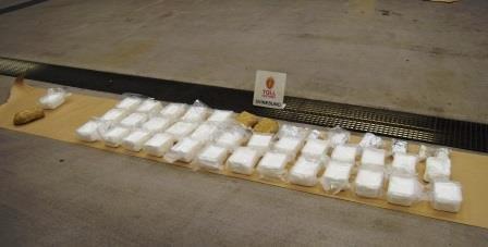 Den polske smugleren forsøkte å krysse grensen med totalt 12,5 kilo amfetamin i bilen.