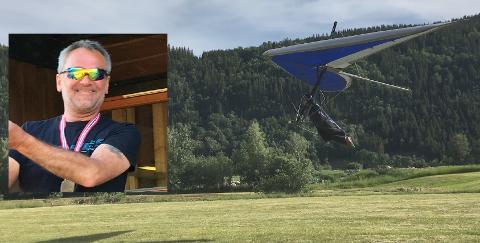Lars Inge Forus var best av samtlige i NM i hanggliding. Her lander han ved riksteatret.