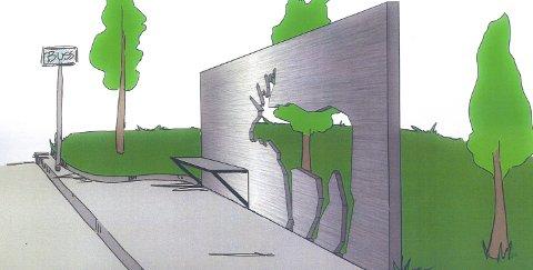 Elg i skur: Dette er en av skissene til utsmykking – Gunn Tove Bratli ser for seg busstopp med utskåret elg i betong ved Korsmo, og spor av «elgtråkk» langs aksen Rådhuset – Korsmo.