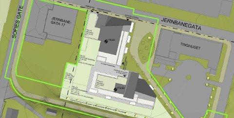 MYE GRØNTAREAL: Området rundt de to planlagte byggene er planlagt med større grøntarealer. Jernbanegata 17 og det tilstøtende området er ikke inkludert i planen slik den er tenkt i denne omgang. Tegning: Planconsult/Kontur for Øst Eiendom AS