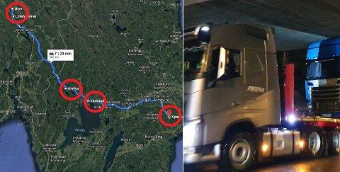 Her er alle de kjente stedene lastebilen fikk problemer.