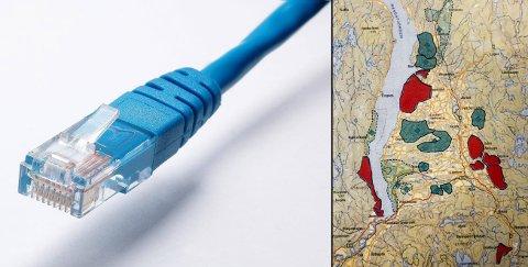 Bredbåndskrigen mellom Telenor og Viken fiber pågår fortsatt i flere av områdene på kartet, som viser hva det kommunale prosjektet omfatter.