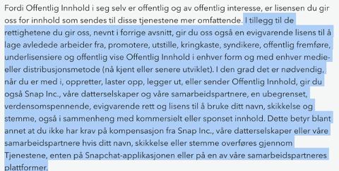 EIE ALT: Nå kan Snapchat eie alt innholdet du legger ut, avhengig av hvordan du bruker appen.